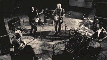 U2 durante as gravações de Achtung Baby no Hansa Studios em Berlim.